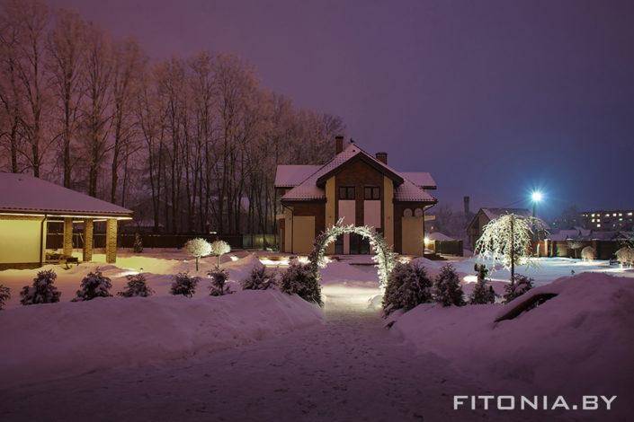 зимняя подсветка сада